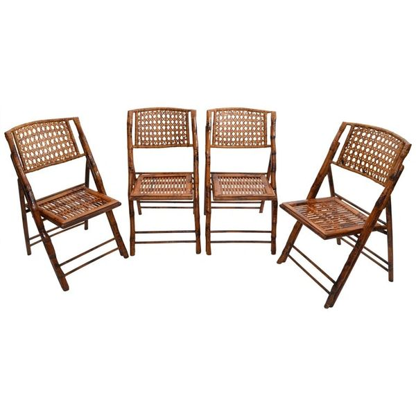Boho Chic Mid-Century Modern Handcrafted Bamboo & Cane Folding Bistro Chairs - 4