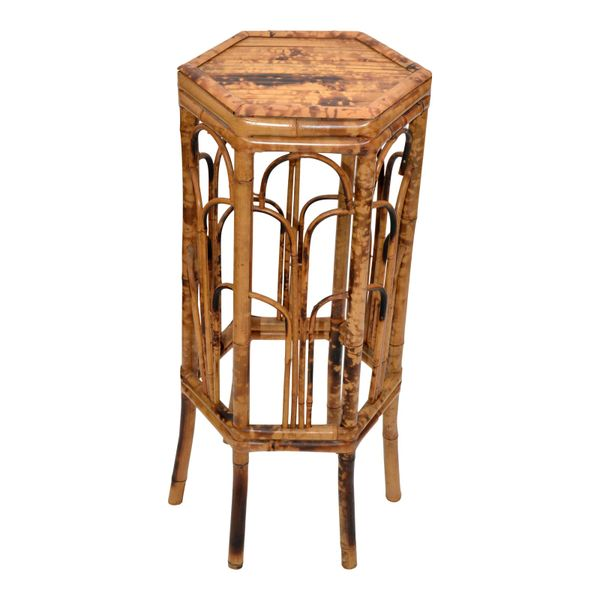 Vintage Chinoiserie Octagonal Shaped Rattan & Bamboo Plant Stand, Side Table