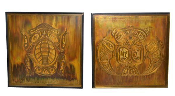 Bernhard Rohne Vintage Acid Etched Brass Owl & Frog Panel Framed Fine Art - Two