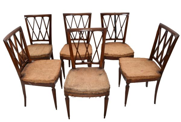 Neoclassical Paolo Buffa Dining Chairs Cherry Wood, 1940 Italy - Set of Six