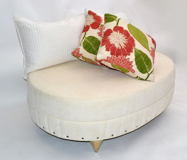 Larry Laslo for Directional Art Deco Oval Beige Bouclé Sofa Golden Diamond Legs