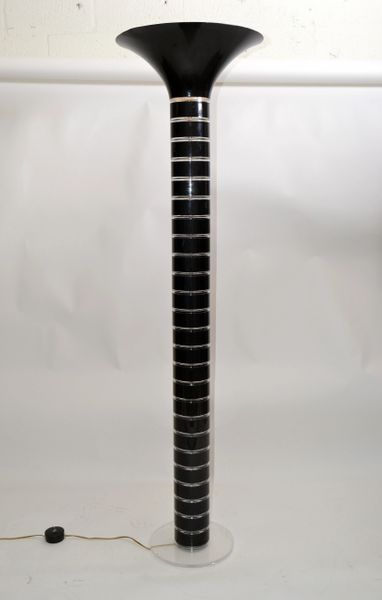 Mid-Century Modern Black & Transparent Stacked Lucite Floor Lamp Enamel Shade