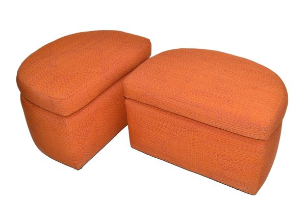 Mid-Century Modern Orange Cotton Upholstery Ottoman on Casters & Cushions - Pair