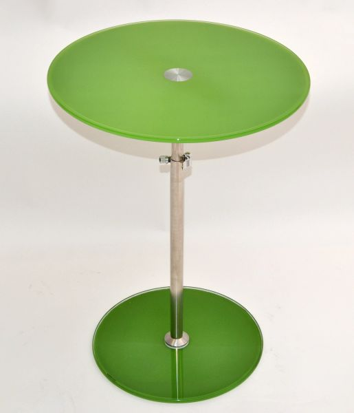 Modern Adjustable Green Tempered Glass & Brushed Steel Side Table, Bistro Table