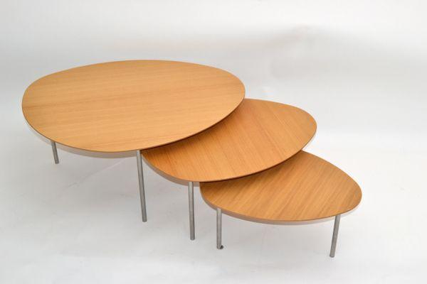 Jon Gasca Plywood Nesting Tables / Stacking Tables Stua Design Spain, Set of 3