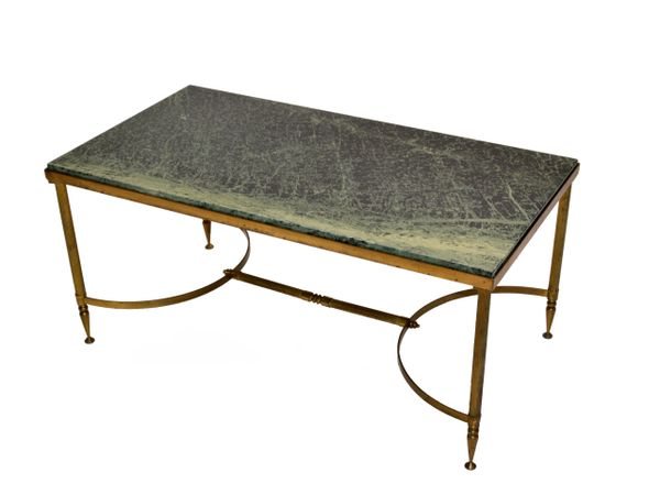 Maison Jansen Bronze Green Marble Top Coffee Table French Neoclassical Late 1950