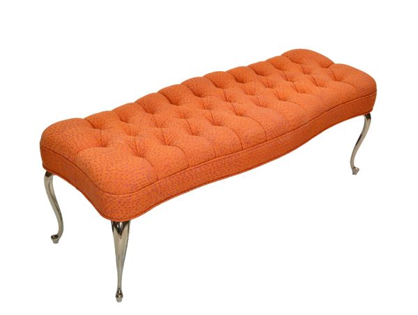 Mastercraft Italian Hollywood Regency Tufted Orange Bench Stainless Steel Legs