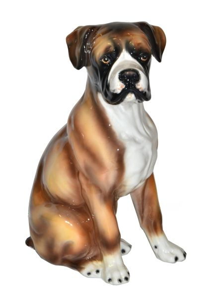 Italian Hand-Painted & Ceramic Life-Sized Boxer Dog Statue, Animal Sculpture