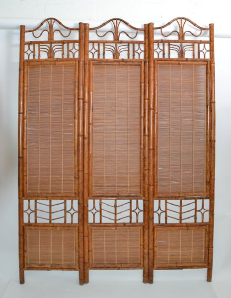 1 of 2 Mid-Century Modern Tall Solid Bamboo Wood Room Divider, Screen, Partition