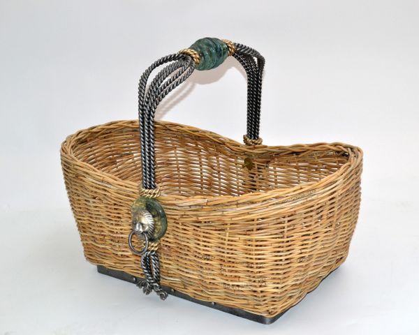 Vintage Maitland Smith Ficks Reed, Wrought Iron, Glass & Brass Lion Head Basket