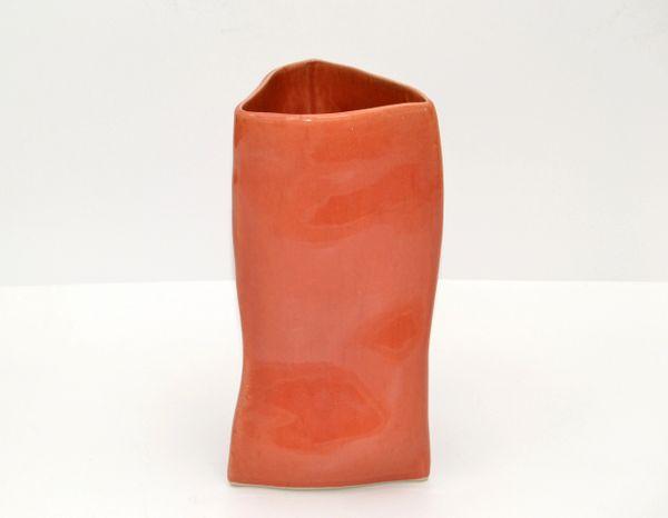Vietri Triangle Geometric Glazed Ceramic Vase Apricot Italy Mid-Century Modern