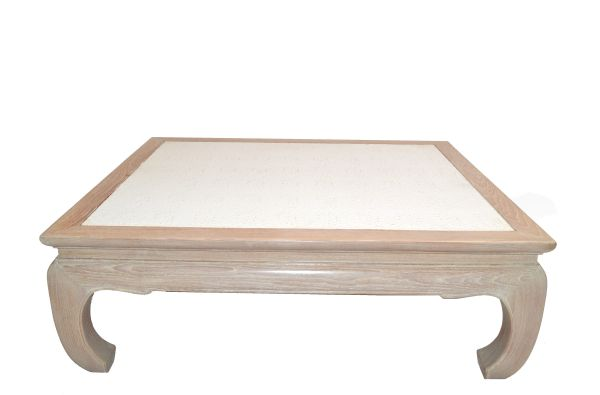 Asian Modern White Bleached Oak Coffee Table Faux Ostrich Top Chinoiserie 1970s