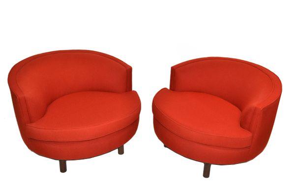 Milo Baughman Style Swivel Chair Walnut Base & Red Italian Bouclé Fabric - Pair