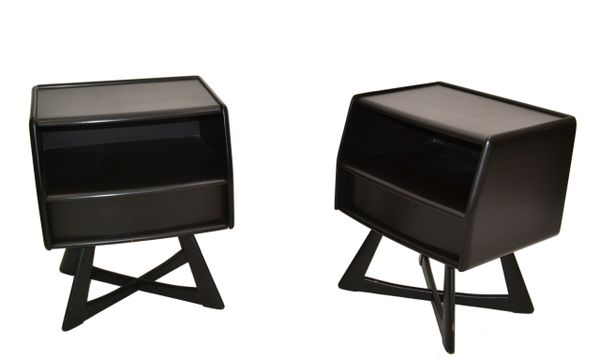 Heywood Wakefield Ebonized Night Stand, Bedside Tables Mid-Century Modern - Pair