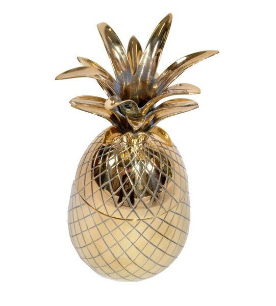Mid-Century Modern Large Brass Pineapple Pina Colada Cup, Jar With Lid, 1970