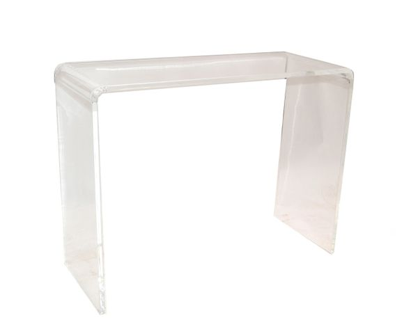 Transparent Mid-Century Modern Waterfall Lucite Console Table Hallway Table 1970