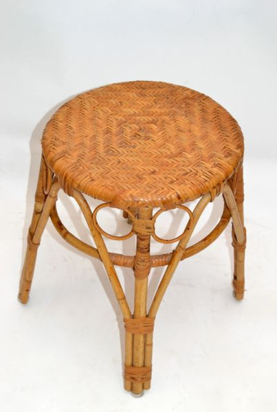 Vintage Bohemian Blonde Bamboo and Rattan Stool