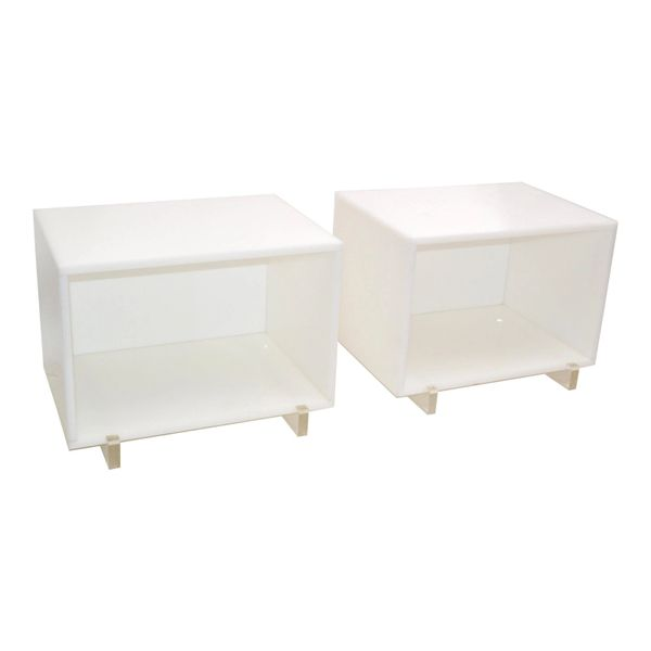 White & Clear Lucite Mid-Century Modern Side, Bedside Tables Night Stands - Pair
