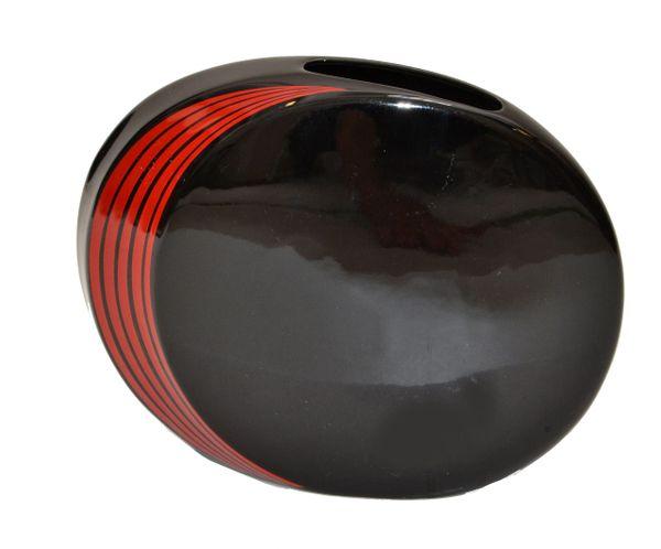 Japan Ceramic Black and Red Round Flat Vase Mid-Century Modern