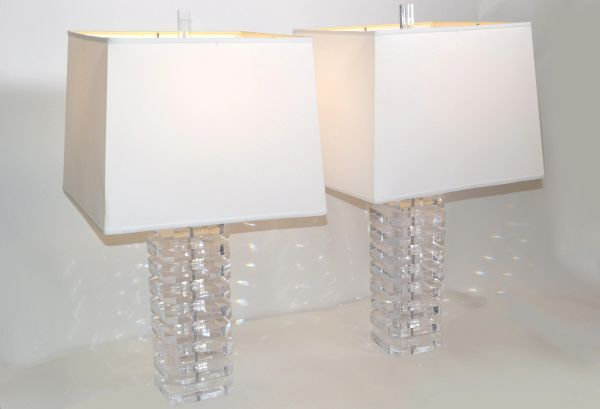 Stacked Clear Lucite Table Lamps & Off White Shade Mid-Century Modern - Pair