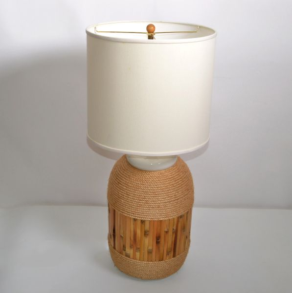 Mid-Century Modern Nautical Ceramic Table Lamp Enfold in Bamboo & Rope 1970s