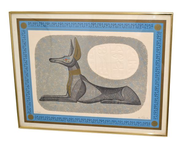 Brass Framed Antique Egyptian Relaxing Dog Lithography With Authentication 1977