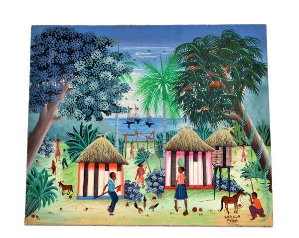 Berthelis Myrbet Vintage Acrylic on Canvas Painting of a Haitian Harbor Scene