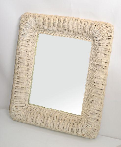 Mid-Century Modern Rectangular Handmade White Finished Wicker & Wood Wall Mirror