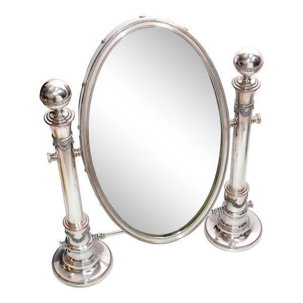 British Colonial Antique 1910 Sheffield England Oval Vanity Mirror Pedestal