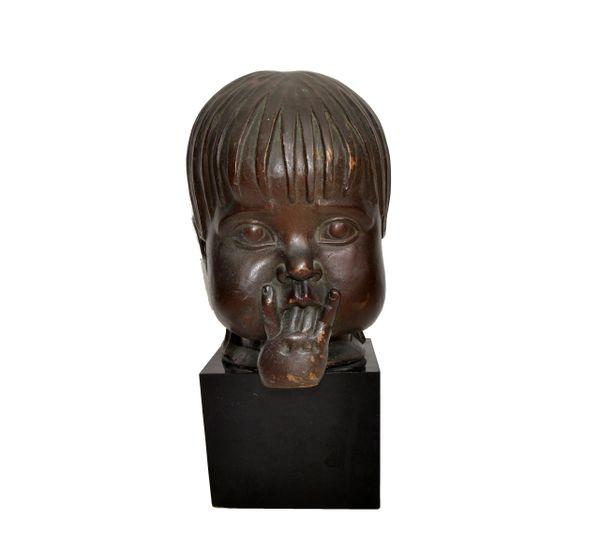Hagenauer Manner Patinated Bronze & Wood Bust, Child Head Sculpture Sucking Fingers