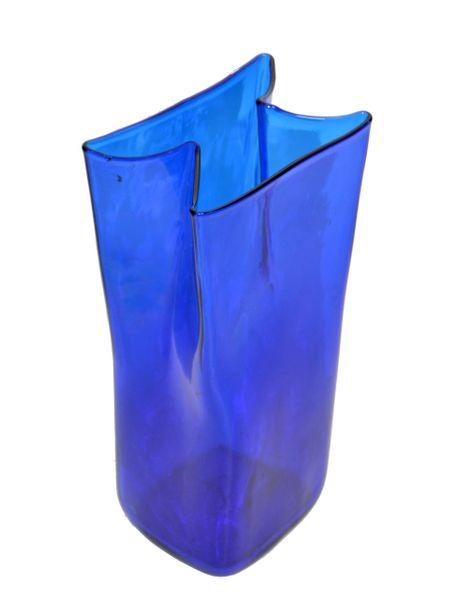 Original Mid-Century Modern Blue Hand Blown Art Glass Vase, Vessel Blenko 1980