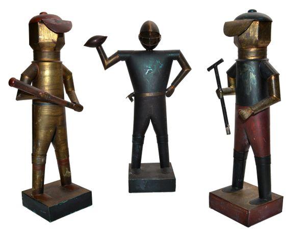 Set of 3 Sarreid Ltd Mexico Tin Metal Sports Player Team Mid-Century Modern