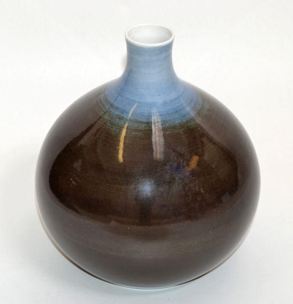 Bavaria Arzberg Hutschenreuther Glazed Porcelain Vase Black, Blue & White 1970s
