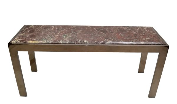 Mid-Century Modern Long Chrome & Beveled Verona Marble Top Console Table, 1975