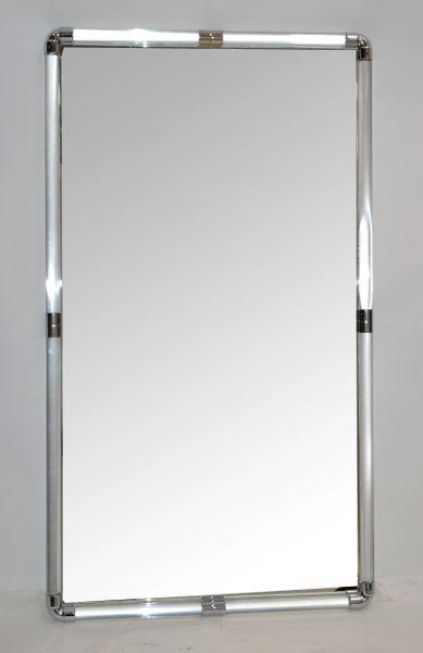 Modernist Rectangular Clear Lucite & Chrome Tubular Mirror Louis Phillippe Style