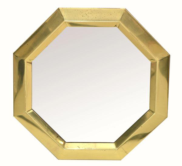 Mid-Century Modern Octagonal Brass Wall Mirror Italy 1970