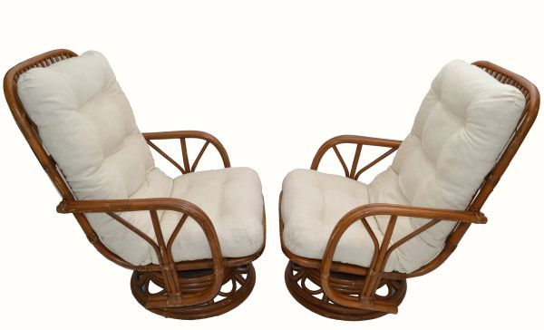 Vintage Bamboo & Wicker High Back Lounge Chair Beige Linen Upholstery - Pair