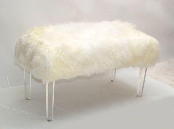 Tibetan Sheepskin Bench Lucite Tapered Legs Mid-Century Modern 1970
