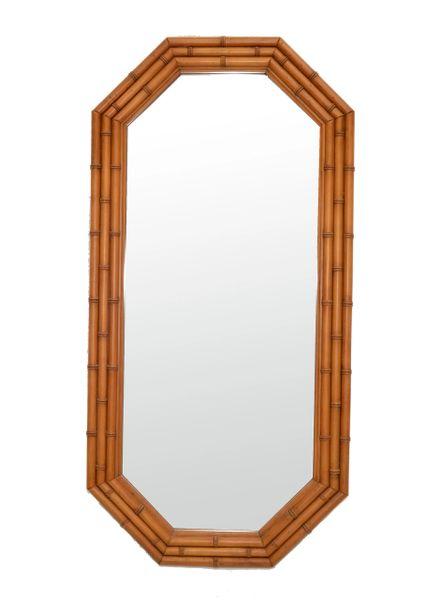 Octagonal Bamboo Wall Mirror Wood Backing Mid-Century Modern 50s