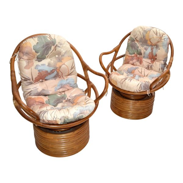 Pair of Bamboo Swivel Club Chairs Lounge Chairs Upholstery Bohemian Chic 1975