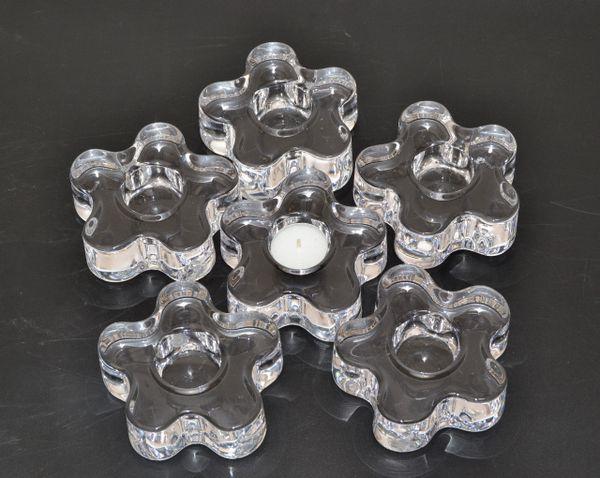Engraved Orrefors Molded Crystal Flower Candle Holders Erika Lagerbielke - Six