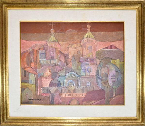 Signed Golden Framed South American Well-Known Uruguay Artist Fine Art 2006