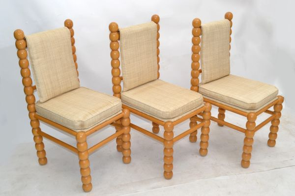 Turned Birch Wood & Fabric Upholstery Dining Chair Mid-Century Modern - Set of 3