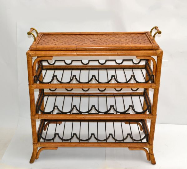 Bohemian Bamboo Brass & Wrought Iron Dry Bar Wine Stand Bottle Console With Tray