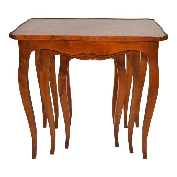 Spanish Colonial Hand Carved Olive Wood Nesting Tables / Stacking Tables, Set 3
