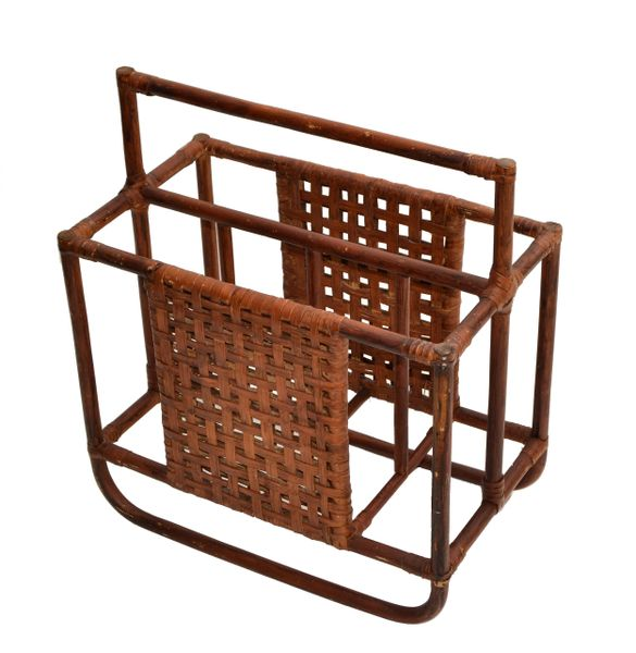 Vintage Mid-Century Modern Handcrafted Bamboo & Cane Magazine Rack, Caddy 1950s