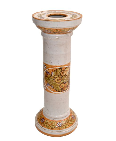 Signed Deruta Pottery Hand Painted Ceramic Pedestal Sculpture Stand Column Italy