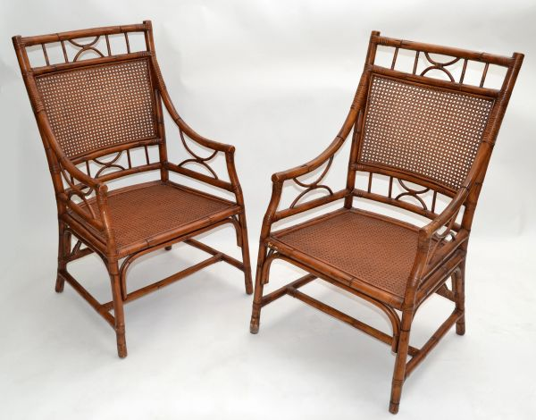 Vintage Chinoiserie Rattan Bamboo Armchairs Woven Cane Seat & Backrest - Pair