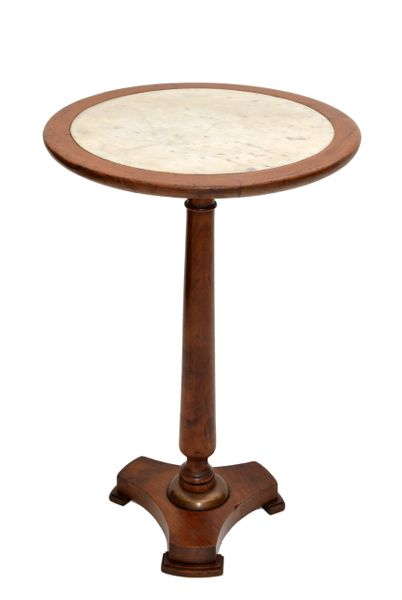 Empire Style Made in France Side Table Oak Wood & Marble Top 1950