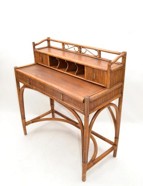Lillian Vernon Vintage Handcrafted Bamboo Desk, Writing Desk & Drawers New York